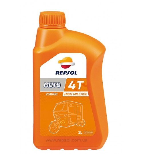 REPSOL MOTO HIGH MILEAGE 4T 25W60, 1л